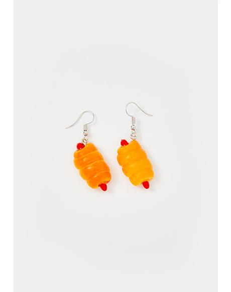 Pigs In A Blanket Drop Earrings