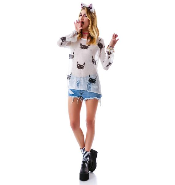 Feelin' Feline Destroyed Sweater