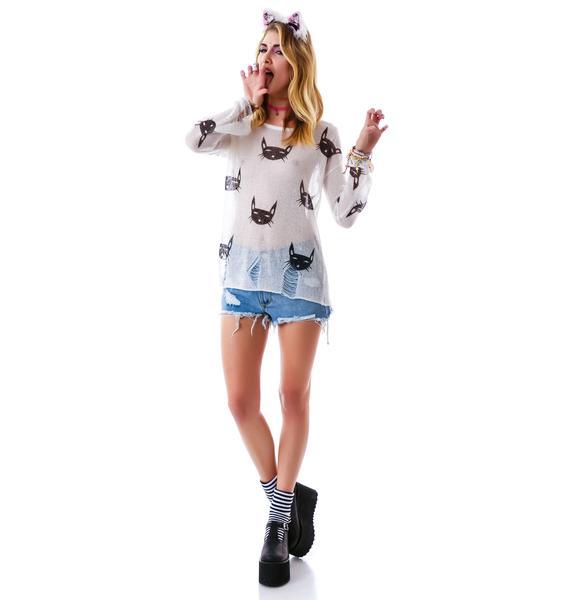 Feelin' Feline Destroyed Sweater