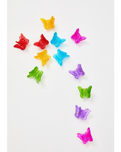 Classic Rainbow Butterfly Clips