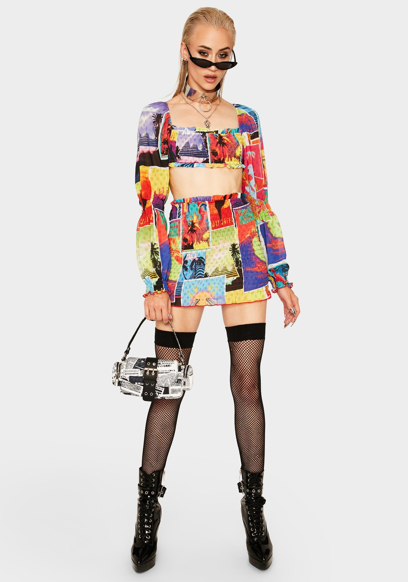 Jaded London Surf Poster Organza Skirt