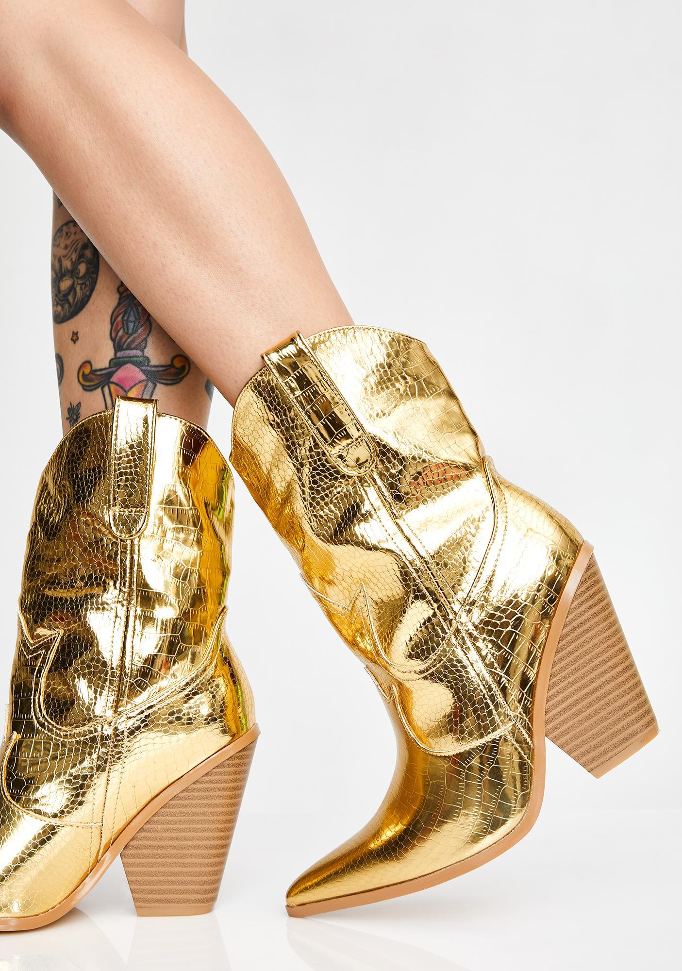 gold glitter cowboy boots