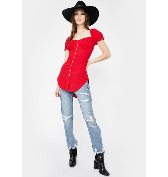 SNDYS. THE LABEL Red Kenny Button Up Top