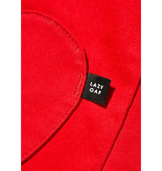 Lazy Oaf Red Denim Pocket Tote