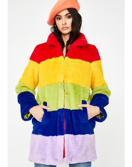 Rainbow Faux Fur Coat