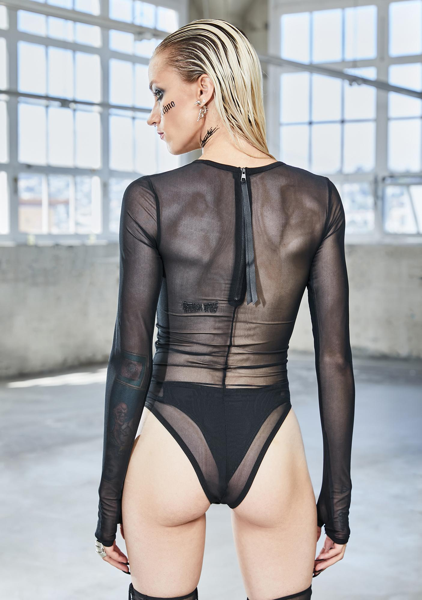 DARKER WAVS Bassline Mesh Long Sleeve Bodysuit