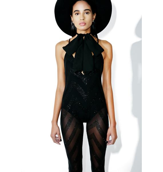 Jaded London Plunge Glitter Mesh Catsuit