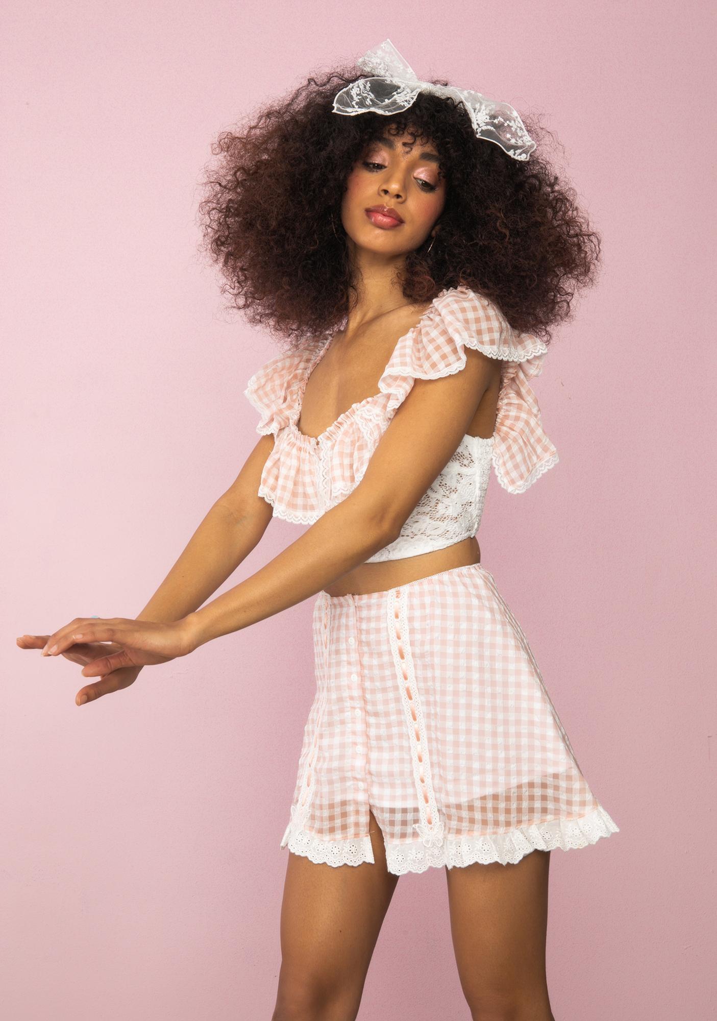 Sugar Thrillz Slice Of Heaven Gingham Mini Skirt