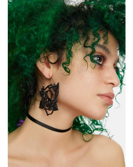 Thorn By Thorn Tattoo Rose Earrings