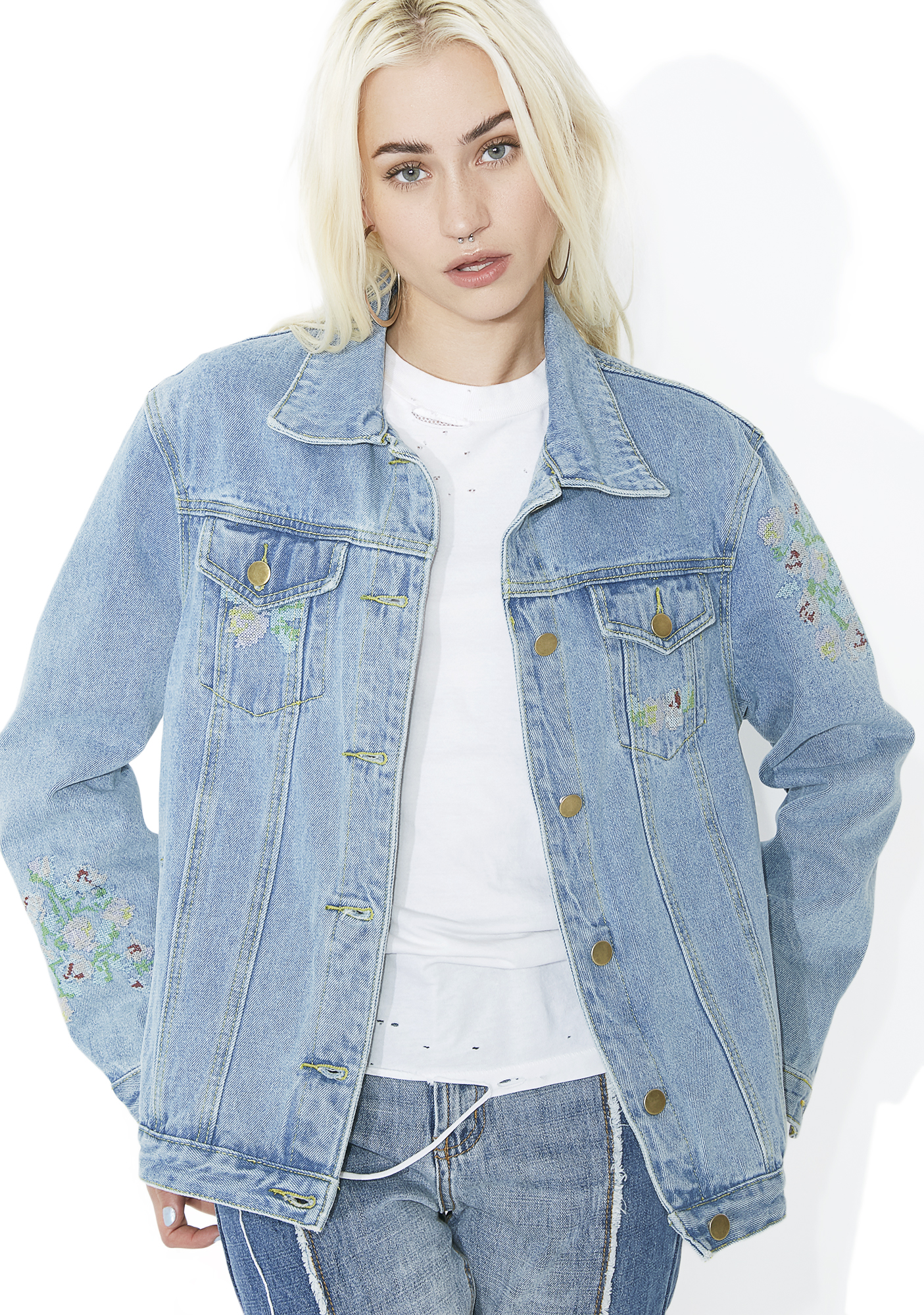 Open Fields Embroidered Denim Jacket