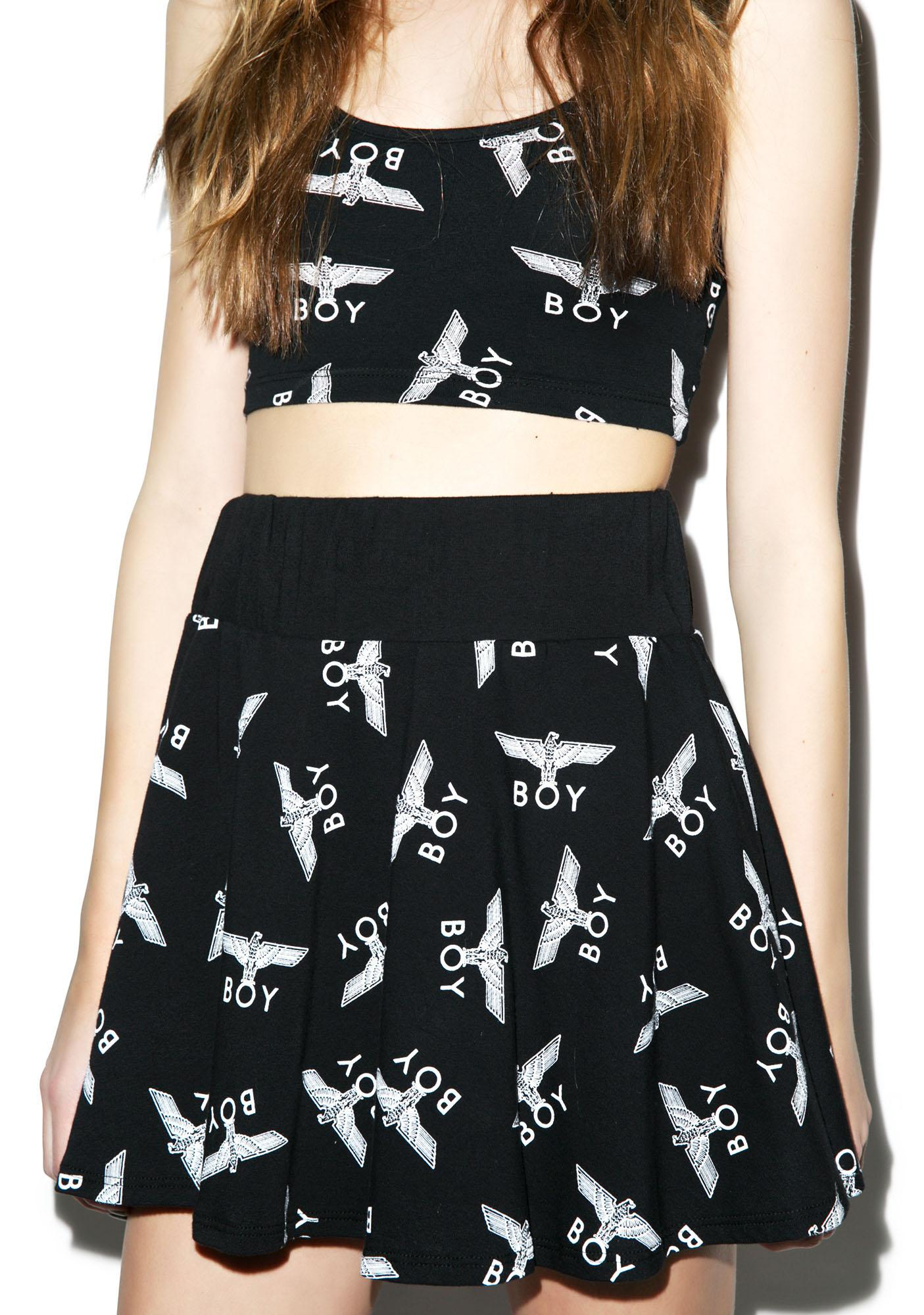 BOY London Allover Eagle Flair Skirt