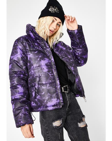 Violet Watercolor Cosmos Tie Dye Puffer Jacket