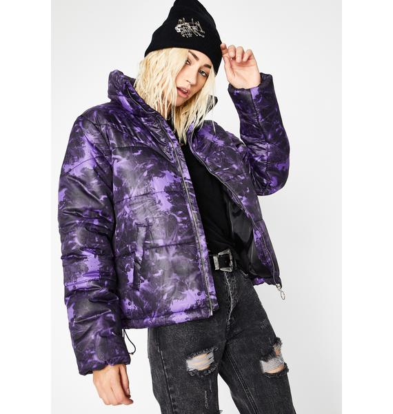Violet Watercolor Cosmos Tie Dye Puffer Jacket