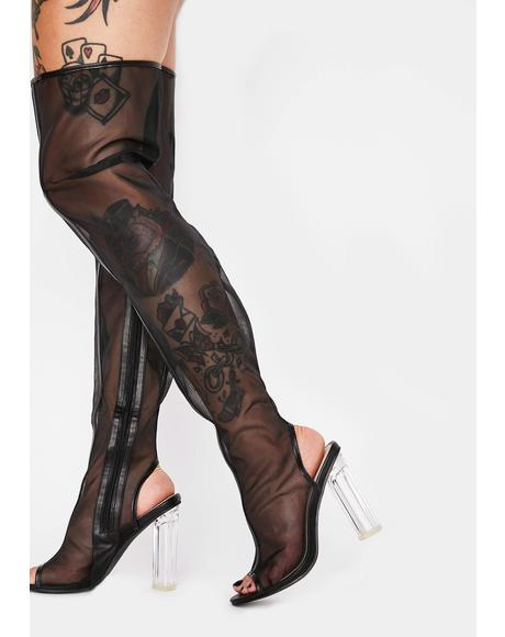 Impure Drama Shield Thigh High Boots