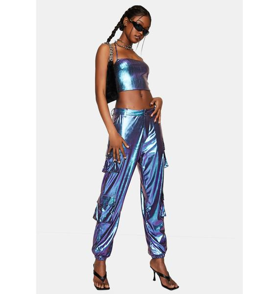 One Above Another Blue Reflective Cargo Trousers