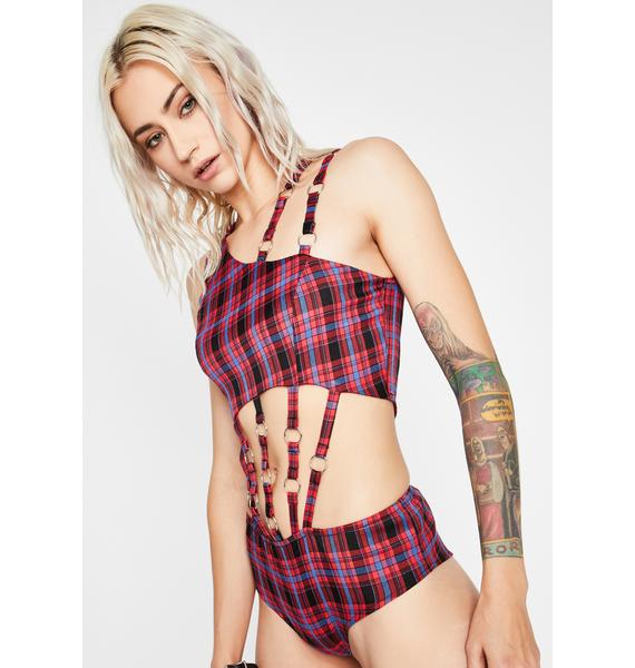 Berry Plaid Habits Cut-Out Bodysuit