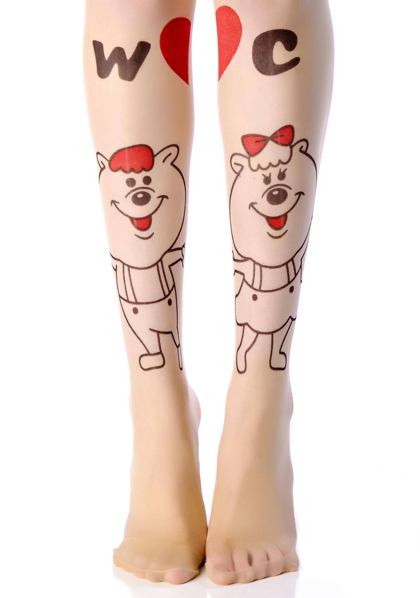 W<3C Bear Love Tattoo Tights