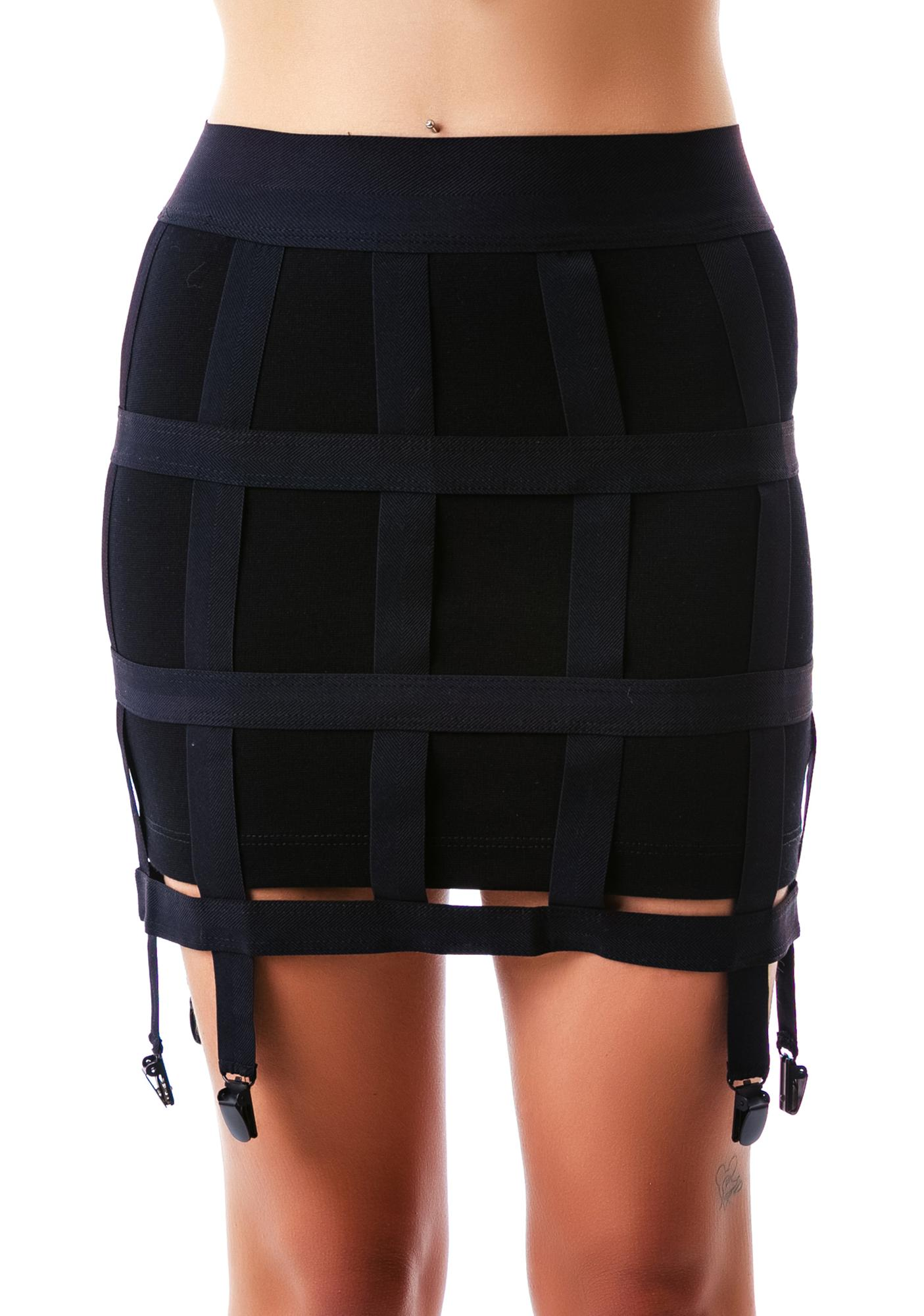 Lip Service Off the Grid Cage Garter Skirt