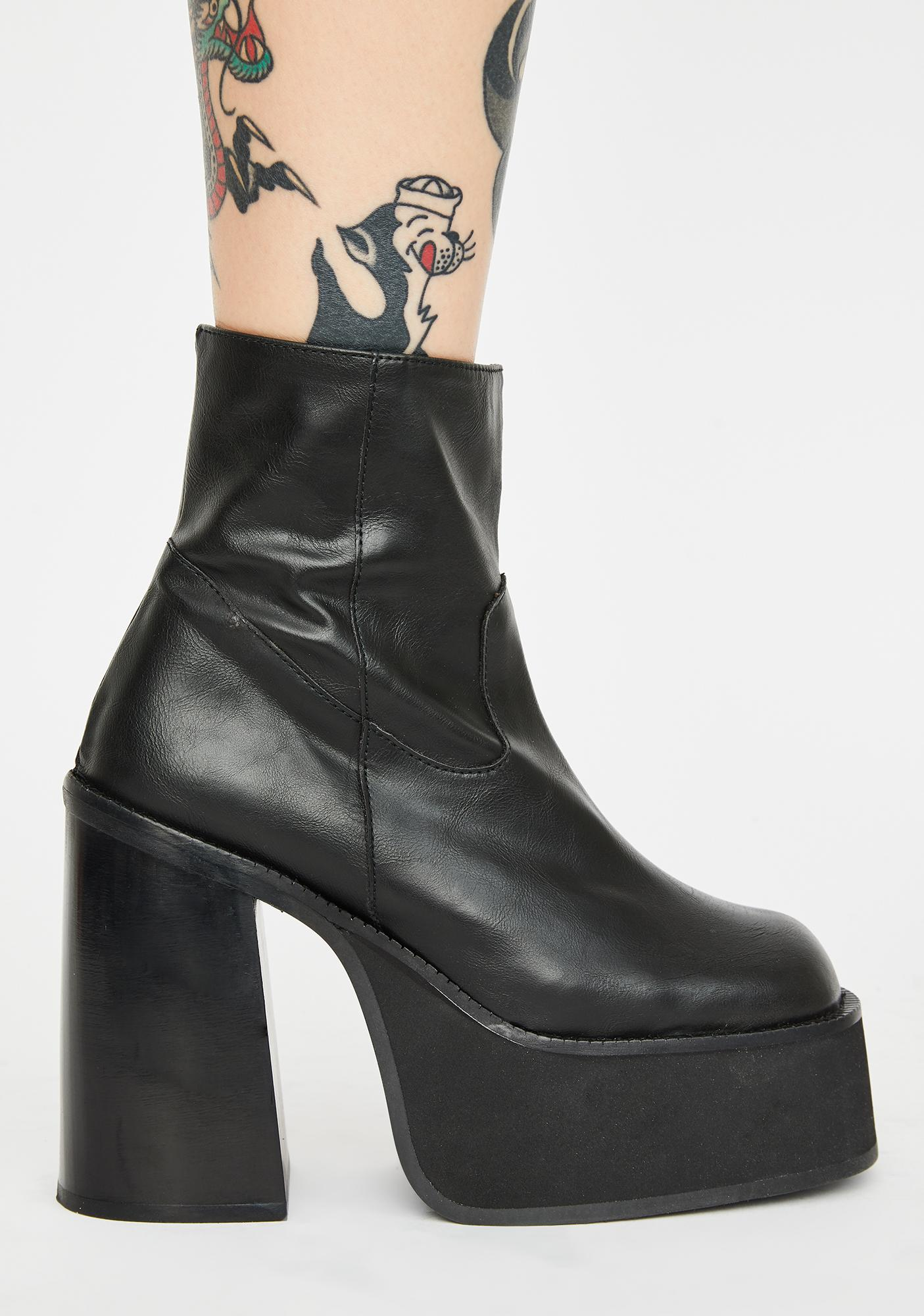 Current Mood Against The Grain Leather Platform Boots