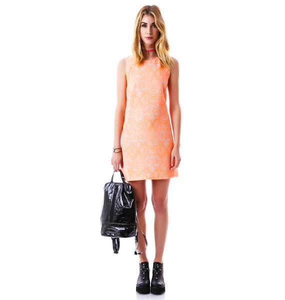 Monaco Neon Damask Shift Dress