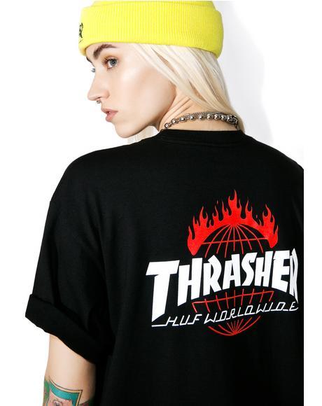 X Thrasher Tour De Stoops Black Tee