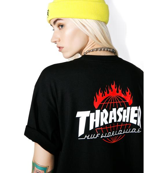 HUF X Thrasher Tour De Stoops Black Tee