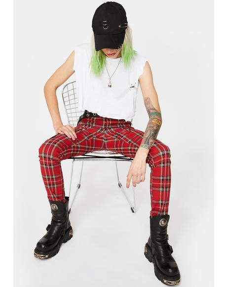 Red Plaid Chaos Pants