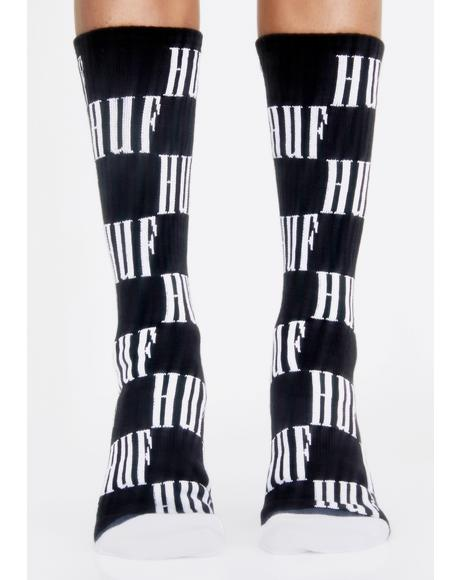 Big Checkered Crew Socks