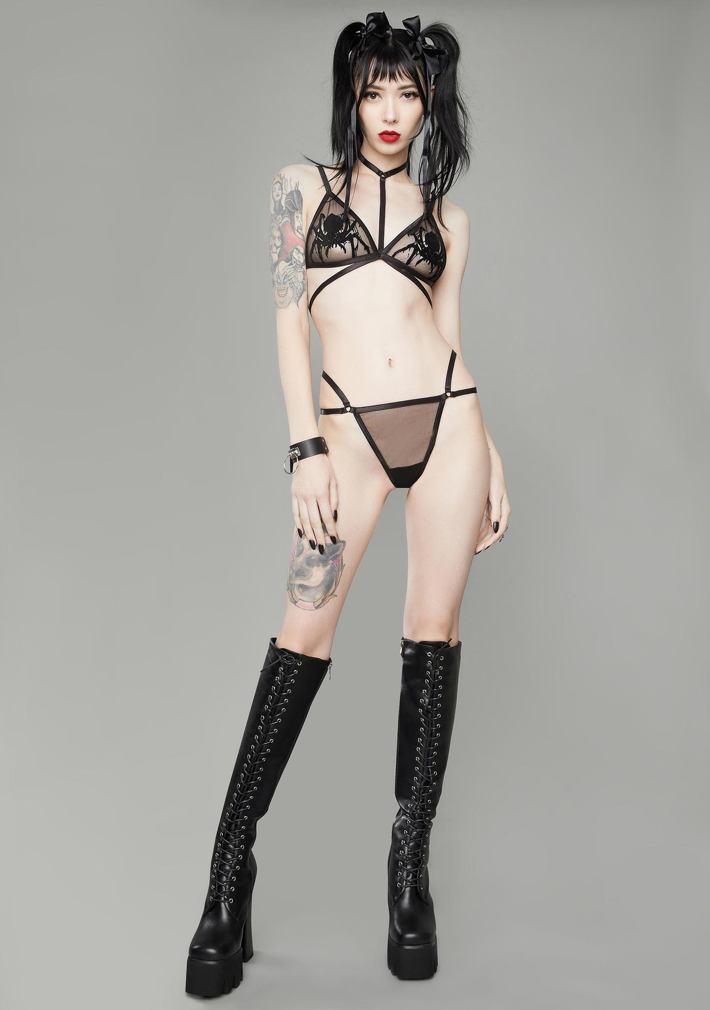 Dolls Kill Spinning Spells Harness Bralette