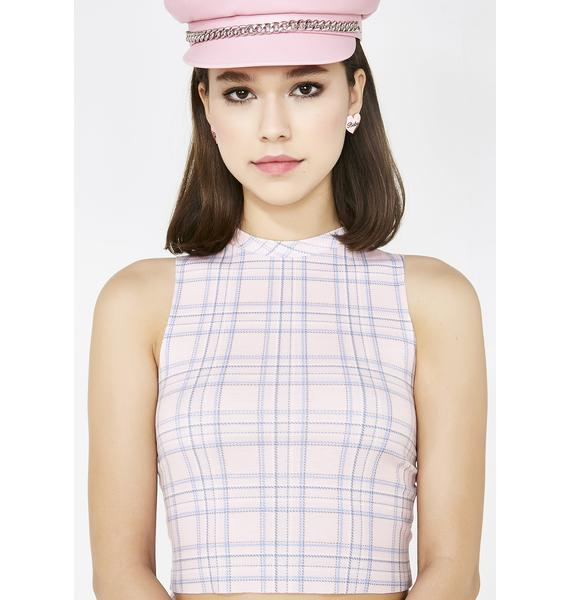 Wildfox Couture Pastel Plaid Fountain Crop
