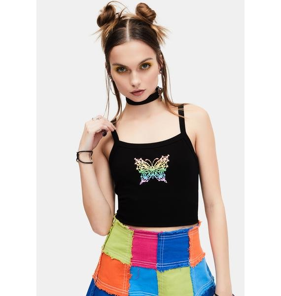 dELiA*s by Dolls Kill Troubled Paradise Butterfly Graphic Tank