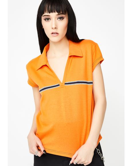 Vintage 90s Orange Polo Top