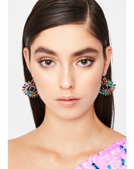 Eye You Down Rhinestone Earrings