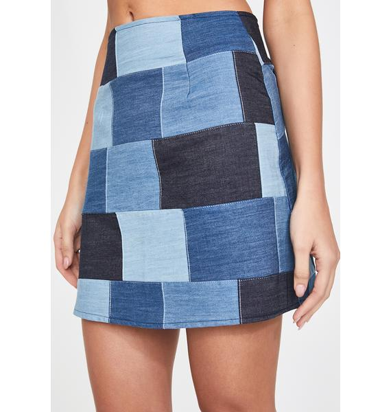 Rojas Patchwork Denim Mini Skirt