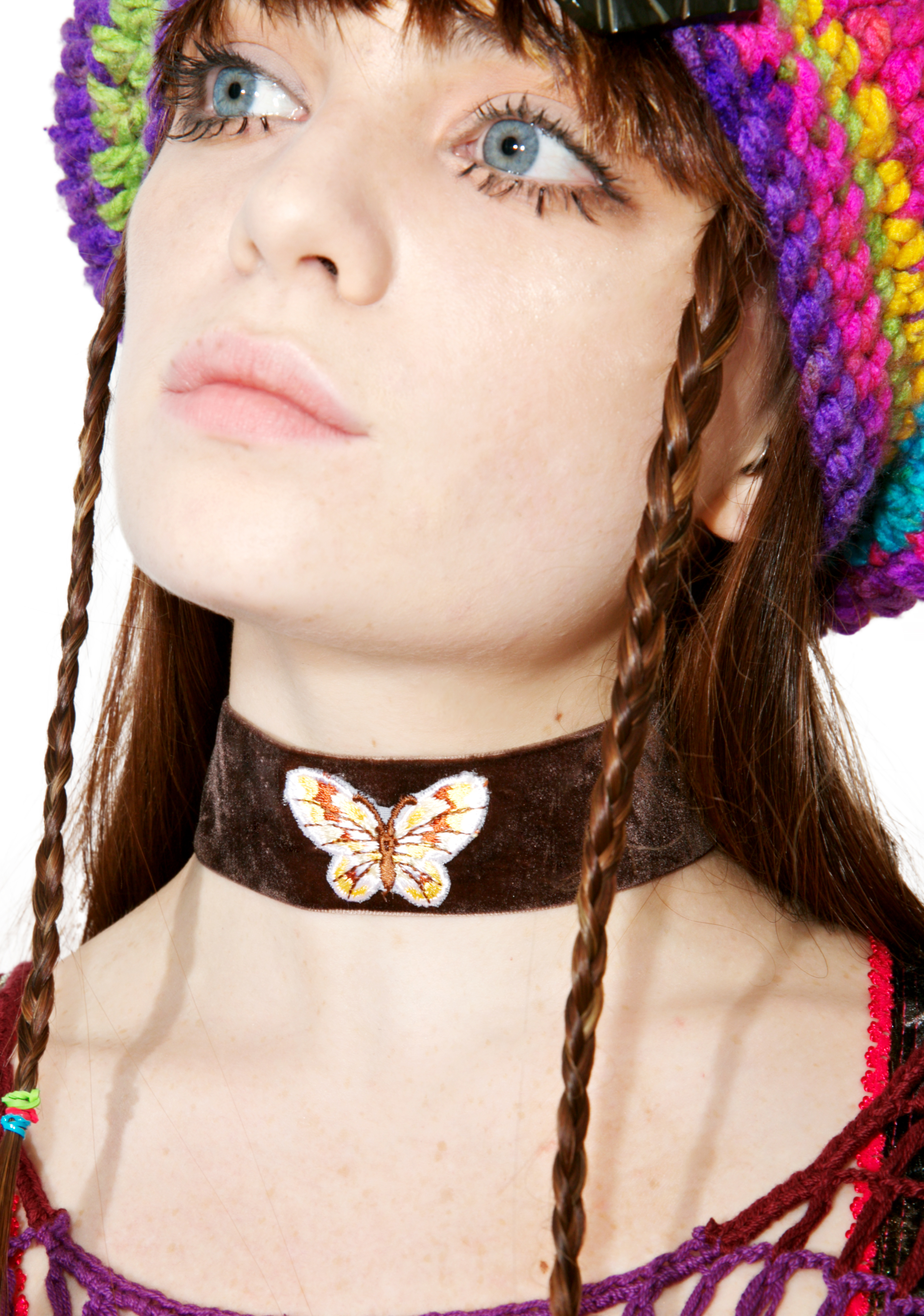 Leather Butterfly Applique Choker