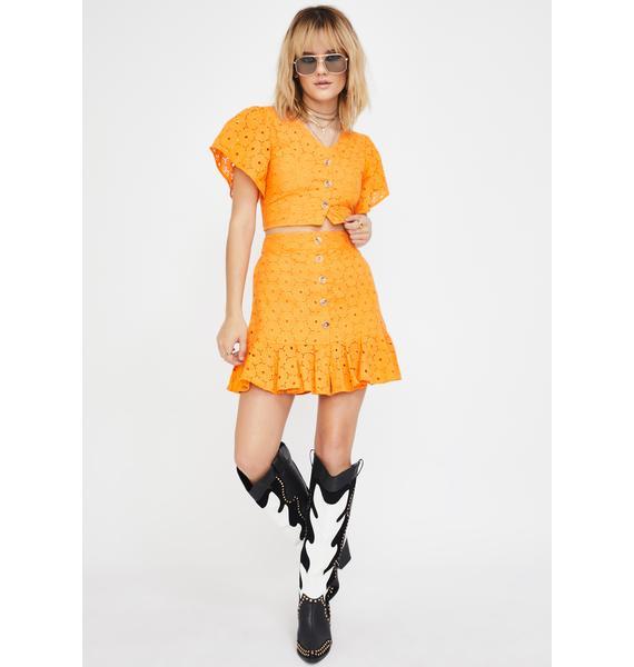 Glamorous Orange Lace Cropped Blouse