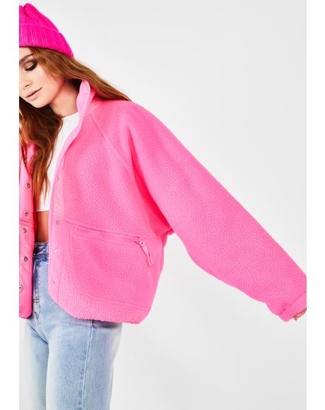 Pink Hit The Slopes Fleece Jacket