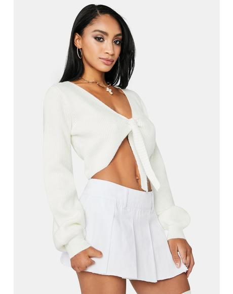 Pure Silence Chic Tie Front Sweater