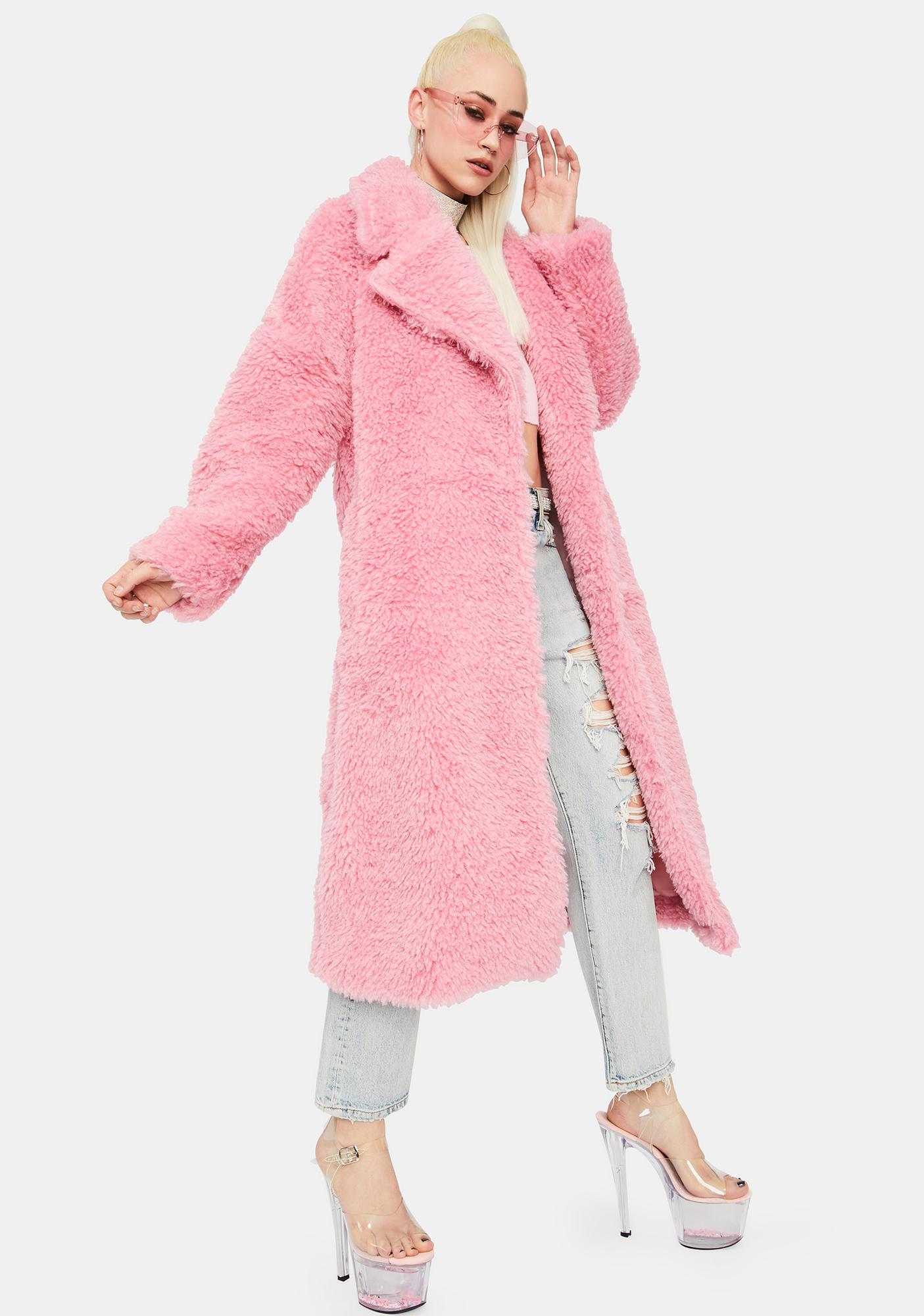 Glamorous Pink Longline Teddy Coat