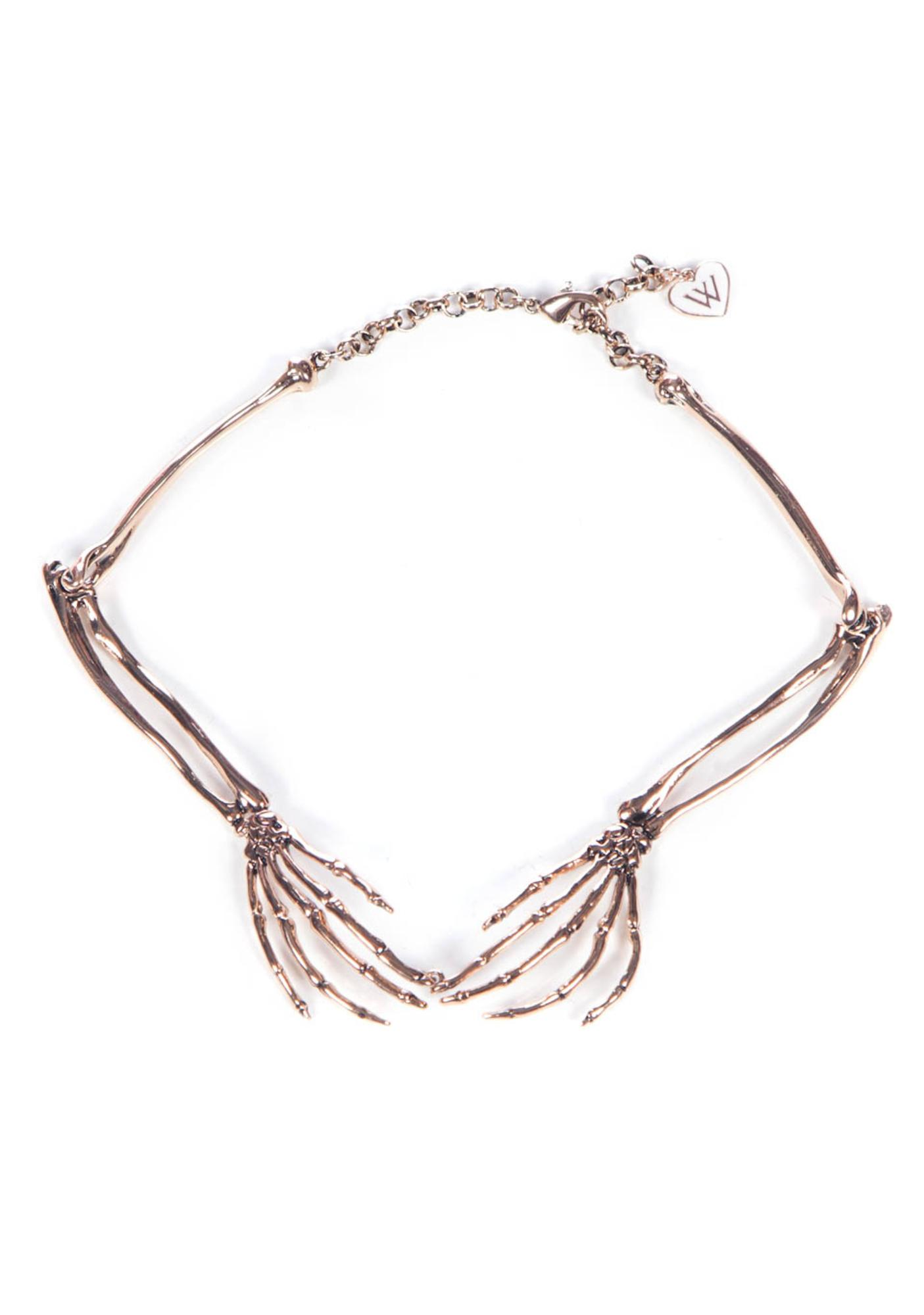 Wildfox Couture Rose Gold Plated Skeleton Hands Necklace