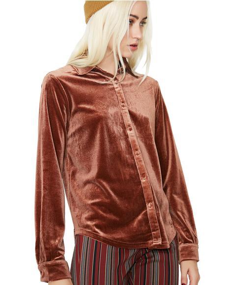 Smooth Talker Velvet Button-Up Blouse