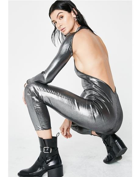 Dance It Off Metallic Catsuit