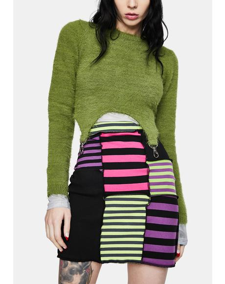 Damage Striped Patchwork Skirt