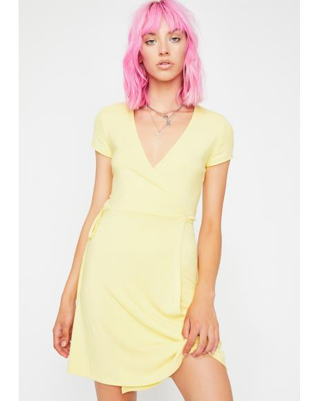 Lemon Sassy Flaunt Ribbed Dress