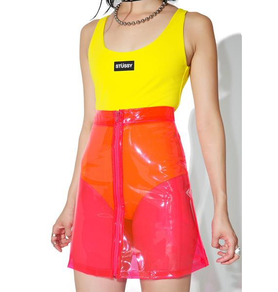 Brashy Crystalline Pink Transparent High Waisted Skirt