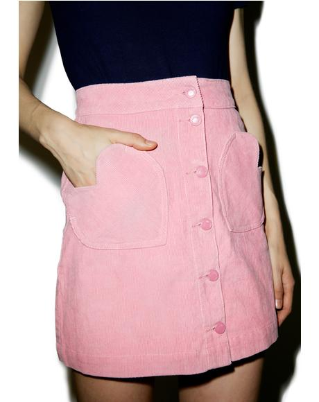 Heart Pocket Cord Skirt