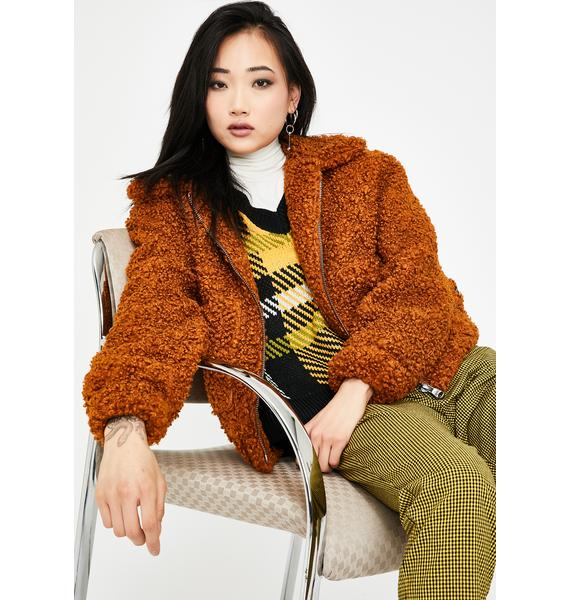 Lira Clothing Brown Faux Shearling Teddy Jacket