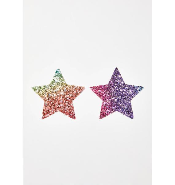 Neva Nude Super Sparkle Rock Kandi Star Pasties