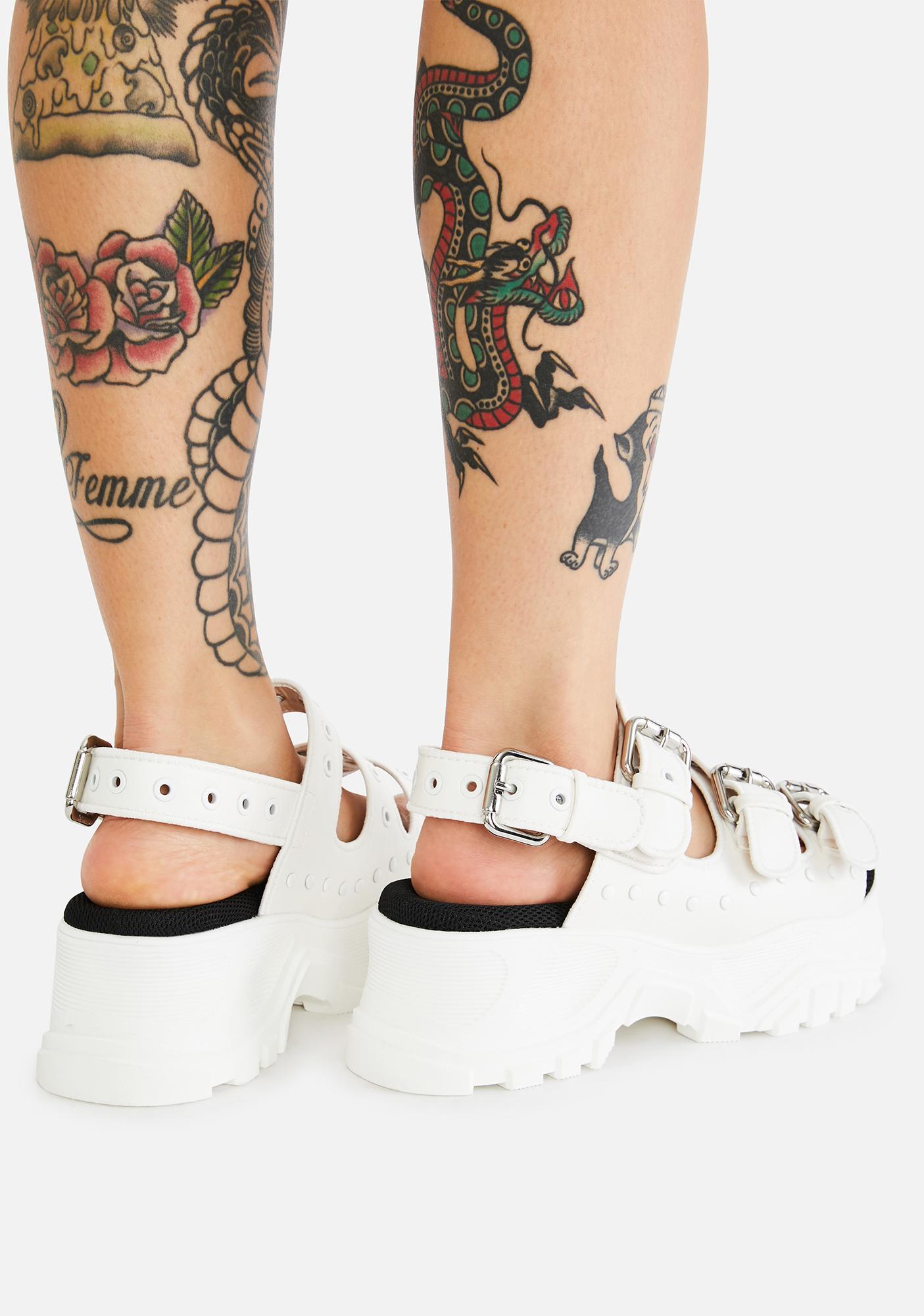 Buffalo White GLDR OB Platform Sandals