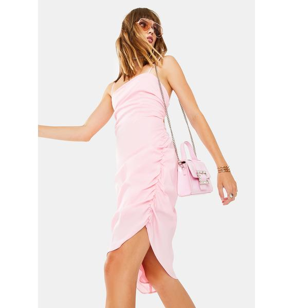 Glamorous Pink Asymmetrical Dress